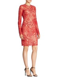 Naeem Khan Long Sleeve Beaded Dress Red
