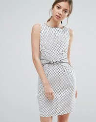 Trollied Dolly Polka Dot Dress With Tie Waist White With Black Pol