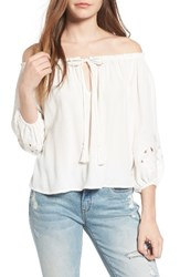 Astr Women's Embroidered Off The Shoulder Top Ivory