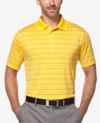 Pga Tour Men's Airflux Striped Golf Polo Golden Cream