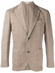 Boglioli Herringbone Blazer Brown