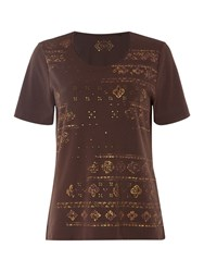 Tigi Short Sleeve Ethnic Print Top Brown