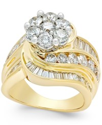 Macy's Diamond Cluster Swirl Ring 4 Ct. T.W. In 14K Gold Yellow Gold