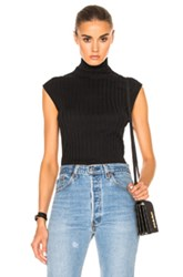Enza Costa Cashmere Sleeveless Turtleneck Tee In Black