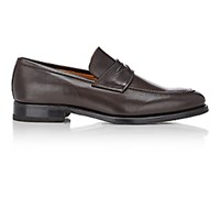 Barneys New York Men's Apron Toe Penny Loafers Dark Brown