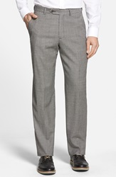 Berle Flat Front Houndstooth Wool Trousers Charcoal