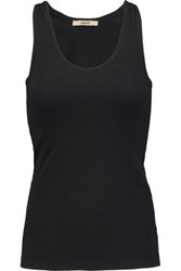 J Brand Broadway Ribbed Stretch Cotton Jersey Tank Top Black