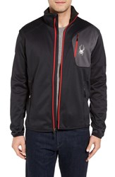 Spyder Men's Zip Front Windbreaker Black Polar Red