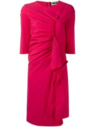 Hache Gathered Front Dress Pink Purple