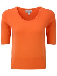 Pure Collection Willow Crop Cashmere T Shirt Sunset Orange