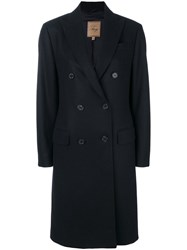 Fay Tailored Button Up Coat Viscose Cashmere Wool Xs Blue