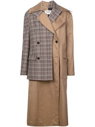 Monse Layered Double Breasted Coat Brown