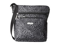 Baggallini Pocket Crossbody Pewter Floral Cross Body Handbags Black
