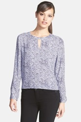 Trouve Trouve Long Sleeve Sheer Top Blue