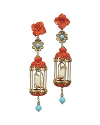 Of Rare Origin Aviary Classic Coral And Turquoise Drop Earrings Multi