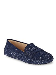 Tod's Gommini Textured Leather Moccasins Dark Blue