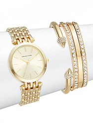 Adrienne Vittadini Glitz Goldtone Bracelet Watch Set 5 Piece