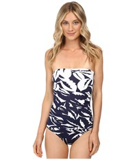 Tommy Bahama Graphic Jungle Engineered Shirred Baneau One Piece Mare Navy White Women's Swimsuits One Piece Gray