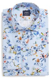 John W. Nordstrom Big And Tall Traditional Fit Floral Dress Shirt Blue Cornflower