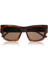 The Row Square Frame Leather Trimmed Acetate Sunglasses