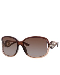 Christian Dior Gradient Polarized Butterfly Split Temple Sunglasses Brown