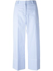 Ermanno Scervino Striped Cropped Pants Blue