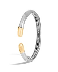 John Hardy 18K Yellow Gold And Sterling Silver Bamboo Slim Kick Cuff Silver Gold