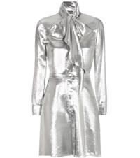 Saint Laurent Metallic Silk Blend Dress Silver