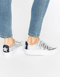 Asos Davius Novelty Trainers Silver Navy Glitter