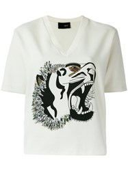 Andrea Bogosian Tiger Print Top White