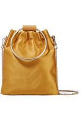 Theory Post Small Leather Trimmed Satin Shoulder Bag Yellow