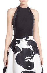 Women's Halston Heritage High Neck Fitted Faille Crop Top Black