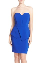 Adelyn Rae Women's Strapless Peplum Sheath Dress Blue
