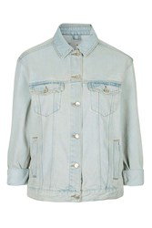 Topshop Moto Oversized Western Denim Jacket Bleach Stone