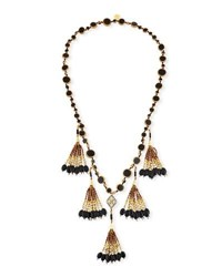 Devon Leigh Copper Infused Onyx Coin Necklace Black Gold