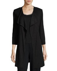 Ming Wang 32 L Ribbed Knit Jacket Black