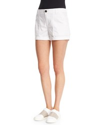 Vince Patch Mid Rise Shorts Optic White