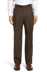 Berle Men's Pleated Solid Wool Trousers Brown