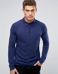 United Colors Of Benetton Cashmere Blend Long Sleeve Knitted Polo Navy 38V