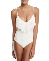 Vince Camuto Maillot Fringe One Piece Swimsuit Ivory