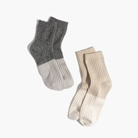 Madewell Two Pack Colorblock Ankle Socks Black Cream Multi