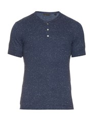 Atm Anthony Thomas Melillo Short Sleeved Knitted Henley Top Indigo