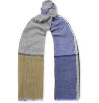 Begg And Co Wispy Fringed Cashmere Scarf Blue