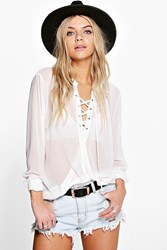 Boohoo Lace Up Wrap Over Chiffon Blouse White