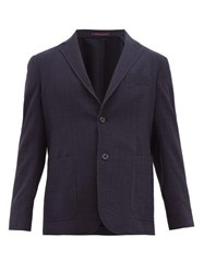 The Gigi Single Breasted Wool Crepe Blazer Navy