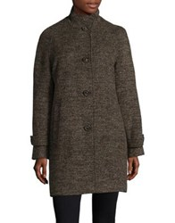 Jones New York Stand Collared Coat Brown