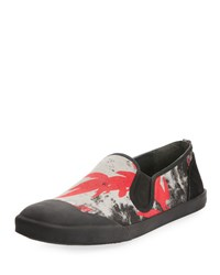 Lanvin Men's Printed Canvas Slip On Sneaker Red