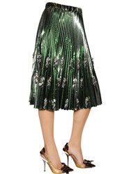 N 21 Pleated And Beaded Lame Vinyl Skirt