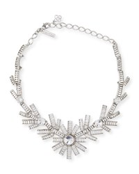 Oscar De La Renta Modern Baguette Crystal Necklace Clear
