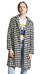 Moon River Plaid Tailored Coat Black Houndstooth
